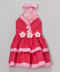 Pink Gingham Ruffle Halter Dress - Toddler & Girls