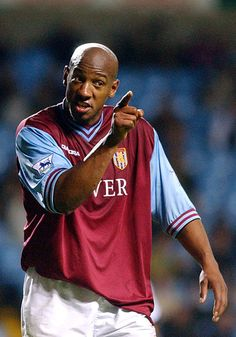 Dion Dublin of Aston Villa in protests against a decision during the FA Barclaycard Premiership match between Aston Villa and Fulham on November 2002 played at Villa Park in Birmingham, England. Aston Villa Fc, Laws Of The Game, Association Football, Villa Park, Most Popular Sports, Premier League, Dublin, Tv Shows, 2000s