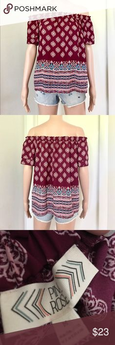 ✔️NWT Off Shoulders Blouse Brand new with tag. Maroon. Price: Fair and reasonable offer immediately accepted. Shipping: Ships within 24 hours. Pink Rose Tops Blouses