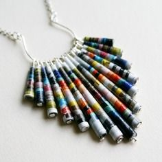"Elégante parure ""hippie c - Diy Decora la Maison Make Paper Beads, Paper Bead Jewelry, Fabric Jewelry, How To Make Beads, Beaded Jewelry, Paper Beads Template, Earrings Handmade, Handmade Jewelry, Newspaper Crafts"