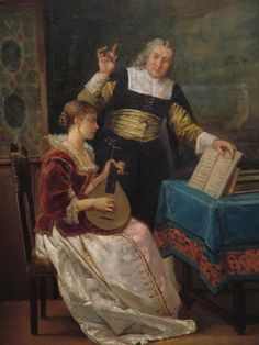 The Music Lesson by Louis Claude Mouchot, ca 1870-90 France, Haworth Art Gallery    A 19th century interpretation of 17th century dress.