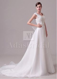 Sale $95 In Stock Charming Tulle & Organza Satin V-Neck A-Line Wedding Dresses With Lace Appliques