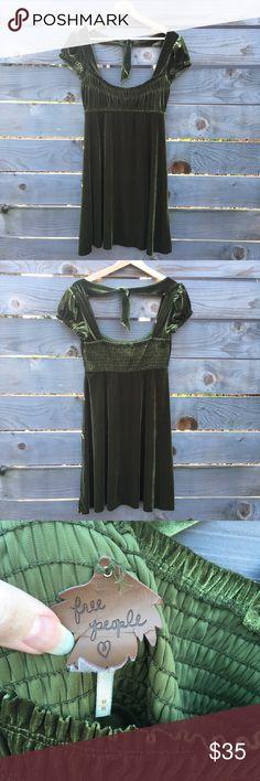Free People Velvet Dress Free People Velvet Olive Green Dress. Minor wear. Free People Dresses