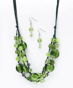 Take a look at the Di Firenze Green & Black Entwined Multi-Strand Necklace & Earrings on #zulily today!
