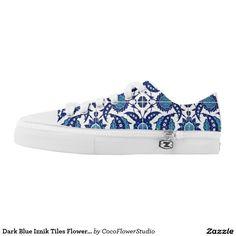 Dark Blue Iznik Tiles Flower Azulejo Mosaic Floral Shoes