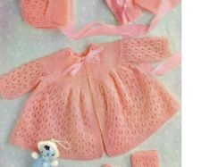 baby knitting pattern for  matinee jacket bonnet  and