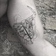 Half Lion Half Bull Tattoo by Bicem Sinik