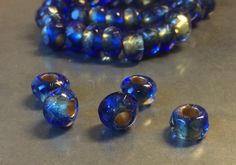Czech Small Roller Bead 6mm X 9mm Mediterranean Copper Lined Qty 5 by gypsybeadpeddler on Etsy