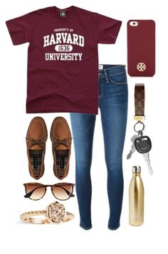"""""""property of harvard university📝"""" by ansleighrose023 ❤ liked on Polyvore featuring Frame, Sperry, J.Crew, Tory Burch, Kendra Scott and S'well"""