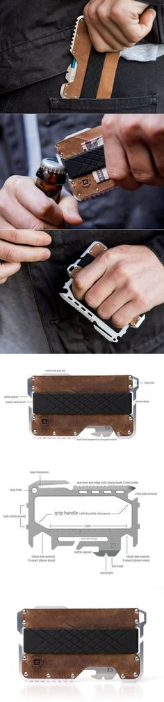 Dango Products TACTICAL EDC Everyday Carry Minimalist Front Pocket WALLET + MULTI-TOOL in Raw Hide Genuine Leather Raw Aluminum