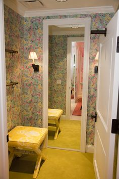 """Phipps Plaza - Atlanta, GA Retail Store - The """"It all started with a juice stand"""" dressing room... this time done in a custom designed printed wallpaper.  Join us for our Grand Opening at Phipps Plaza on June 9th and 10th!"""