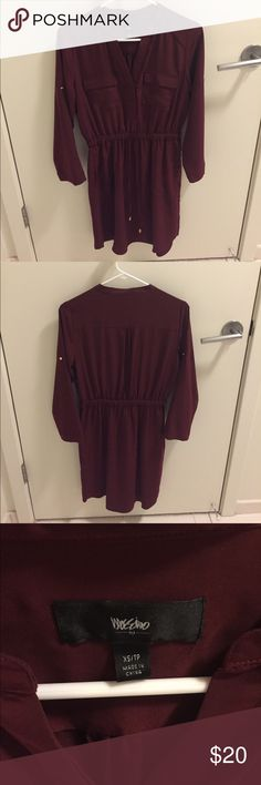 """Mossimo Convertible Sleeve Shirt Dress NWOT. XS. 100% polyester. Sleeves can be rolled up or left down. Gold accents. Body length: 37"""". Maroon color. Price firm unless bundled. Mossimo Supply Co Dresses Midi"""