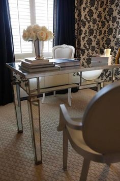 Gorgeous Mirrored Metal Desk in Transitional Office
