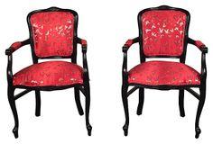 French Silk-Upholstered  Armchairs, Pair on OneKingsLane.com