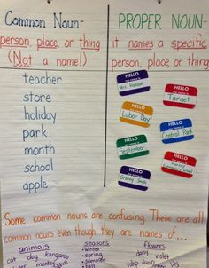Common and Proper Nouns Anchor Chart ...freebie included!