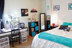 VIDEO: Beauty Room Tour & Updated Makeup Collection http://www.youtube.com/watch?v=nalPjrgnjBQ home decor teal aqua mint black & white bedroom sequins glam organization affordable diy ikea target bedding
