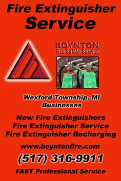 Fire Extinguisher Service Wexford Township, MI (517) 316-9911 Local Michigan Businesses Discover the Complete Fire Protection Source.  We're Boynton Fire Safety Service.. Call us today!