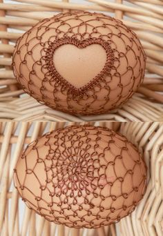 Gorgeous Czech Easter eggs decorated with intricate designs created with copper wire