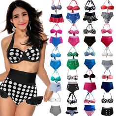Sexy Women Bikini Vintage Retro High Waist Push Up Bandeau Swimsuit Swimwear Set #Unbrand #Bikini