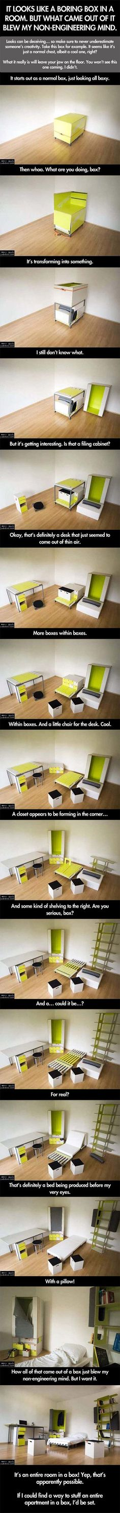 Funny pictures about Box in a room becomes something awesome. Oh, and cool pics about Box in a room becomes something awesome. Also, Box in a room becomes something awesome. Intelligent Design, Ty Dye, Cool Stuff, Life Hacks, Diy Rangement, Ideas Para Organizar, D House, Take My Money, Cool Inventions