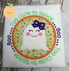 Too Cute To Spook Circle Applique Design