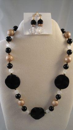 Black onyx gold beaded necklace w/ earrings by BeadDelish on Etsy https://www.etsy.com/listing/212416843/black-onyx-gold-beaded-necklace-w