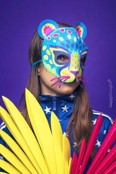 Printable Alebrije masks - Make DIY jaguar, fox, owl and rabbit masks! Tiger Mask, Dog Mask, Jaguar, Animal Mask Templates, Coco Costume, Skull Face Paint, Mexican Celebrations, Carnival Of The Animals, Animal Masks