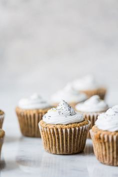 Vegan Lemon Poppy Seed Cupcakes with Coconut Frosting + 3 years of The Green Life! - The Green Life Köstliche Desserts, Delicious Desserts, Yummy Food, Sweet Recipes, Cake Recipes, Dessert Recipes, Mini Cakes, Cupcake Cakes, Lemon Cupcakes
