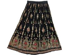 "Christmas Gift- Boho Womens Sequin Skirt Lehenga Print 37"" Gypsy Black Long Skirt mogul interior, http://www.amazon.com/gp/product/B008SP6VTI/ref=cm_sw_r_pi_alp_D-rmqb11A4NKJ"