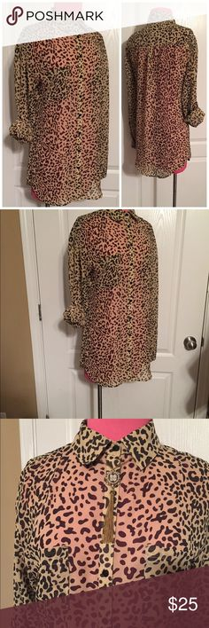 Leopard Blouse Kardashian Kollection long sleeve leopard print blouse. Sleeves can be worn long or rolled and tabbed safari style. NO TRADES Kardashian Kollection Tops Button Down Shirts