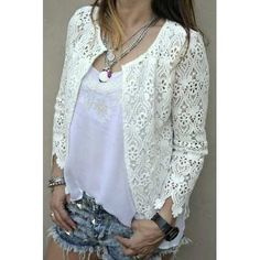 White Lace Blazer to Add to Your Clothes More Charming and Lace Blazer, Lace Jacket, Kinds Of Clothes, Irish Lace, Lace Collar, Sewing Clothes, Dress Codes, White Tops, White Lace