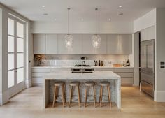 Supreme Kitchen Remodeling Choosing Your New Kitchen Countertops Ideas. Mind Blowing Kitchen Remodeling Choosing Your New Kitchen Countertops Ideas. Modern Kitchen Design, Kitchen Designs, Interior Design Kitchen, Contemporary Kitchens, Modern Design, Modern Kitchens With Islands, Modern White Kitchens, Contemporary Cabinets, Contemporary Office