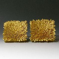 Jacqueline Ryan: Micro Leaves Earrings; Square