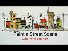 How to paint houses, buildings and a street scene with a water brush QUICK, EASY AND FUN - YouTube