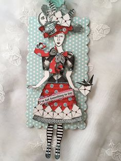 Handmade Paper Doll. Articulated Aet Tag Mixed Media by ParisPluie