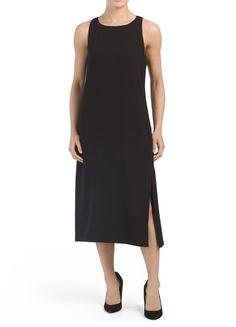 a0c1d59c48e Theory Caidyn Black Crepe Midi Dress Size 10 (M) Sleeveless Side Slit Shift  NWT