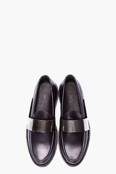 YSL Black Leather Brass Bar Loafers | $1500 CAD