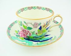 Crown staffordshire art deco fine english bone china cup and saucer  tea party