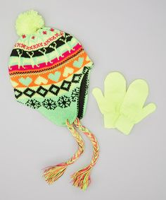 Take a look at this Lime Green Heart Braided Earflap Beanie & Mittens by Kids Apparel Club on #zulily today!