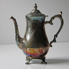 """INSPIRATION :: Super cool silver plated teapot w/ anodized effect. (For a tute on how to do this, check out the video on YouTube titled """"Make Silver Different Colors by Anodizing"""" by NurdRage)"""