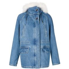 Yves Salomon Fur Denim Parka (€1.640) ❤ liked on Polyvore featuring outerwear, coats, jackets, tops, all outerwear, kirna zabete, yves salomon, fur-lined parkas, fur parka coat and denim parka