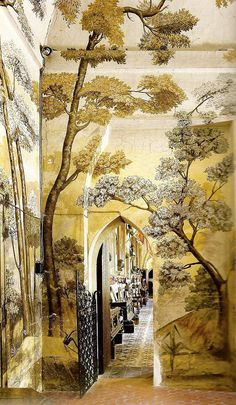 French company, Ananbo, combines traditional landscape painting and new printing techniques to create an extensive collection of wallpaper murals inspired by ancient elements. The decorations are hand painted, scanned and printed on non-woven paper. Of Wallpaper, Painted Wallpaper, Beautiful Wallpaper, Zuber Wallpaper, Wall Treatments, Mellow Yellow, Fresco, Wall Murals, Wall Art