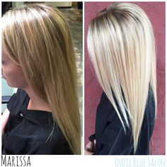 From brassy highlights to bright blonde balayage! Marissa Pence, Indie Blue Salon. Springfield, MO.