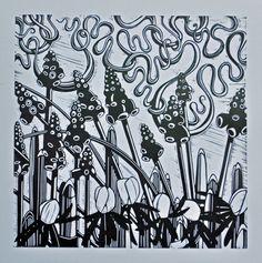'Spring Delight' - Linocut by Helen Roddie