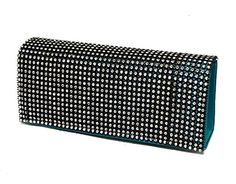 TURQUOISE SATIN DIAMANTE HARD BACK CLUTCH BAG A-SHU.CO.UK, £12.00