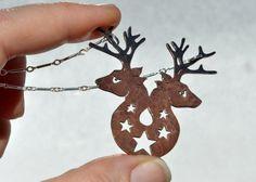 Rabbit Necklace / Fire symbol / Hare / Bunny by BlackRabbitStudio