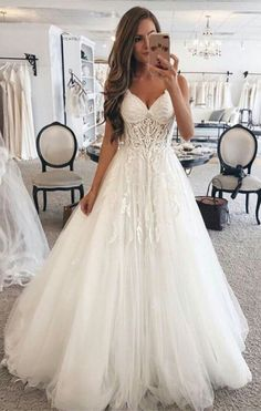 country white tulle a line wedding dresses for bride, modest spaghetti straps church bridal gowns with appliques, summer wedding dress #wedding