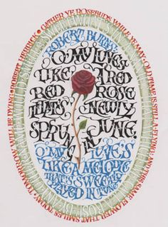Calligraphy - Vernon Cole -Red Red Rose