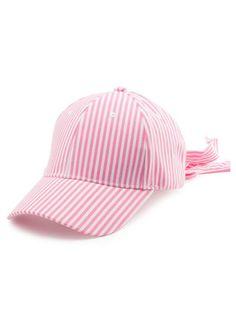 Striped Bowknot Long Tail Baseball Hat (Pink) Pink Hat 7ef662c82009