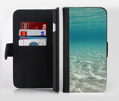 The Under The Sea Scenery Ink-Fuzed Leather Folding Wallet Credit-Card Case for the Apple iPhone 6/6s, 6/6s Plus, 5/5s and 5c from DesignSkinz